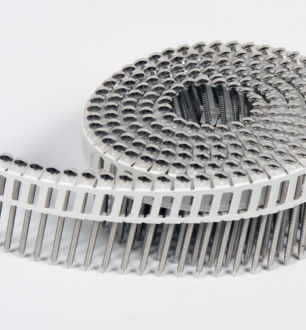 Rolnagels RVS 2.1x45mm (6000st) plastic gebonden bolkop vlakke rol